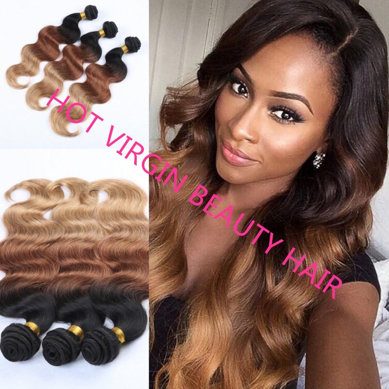 8A Ombre Hair Brazilian Virgin Hair Body Wave 3Pcs Natural/#4/#27 Three Tone Ombre Brazilian Hair Weave Human Hair Extensions<br><br>Aliexpress