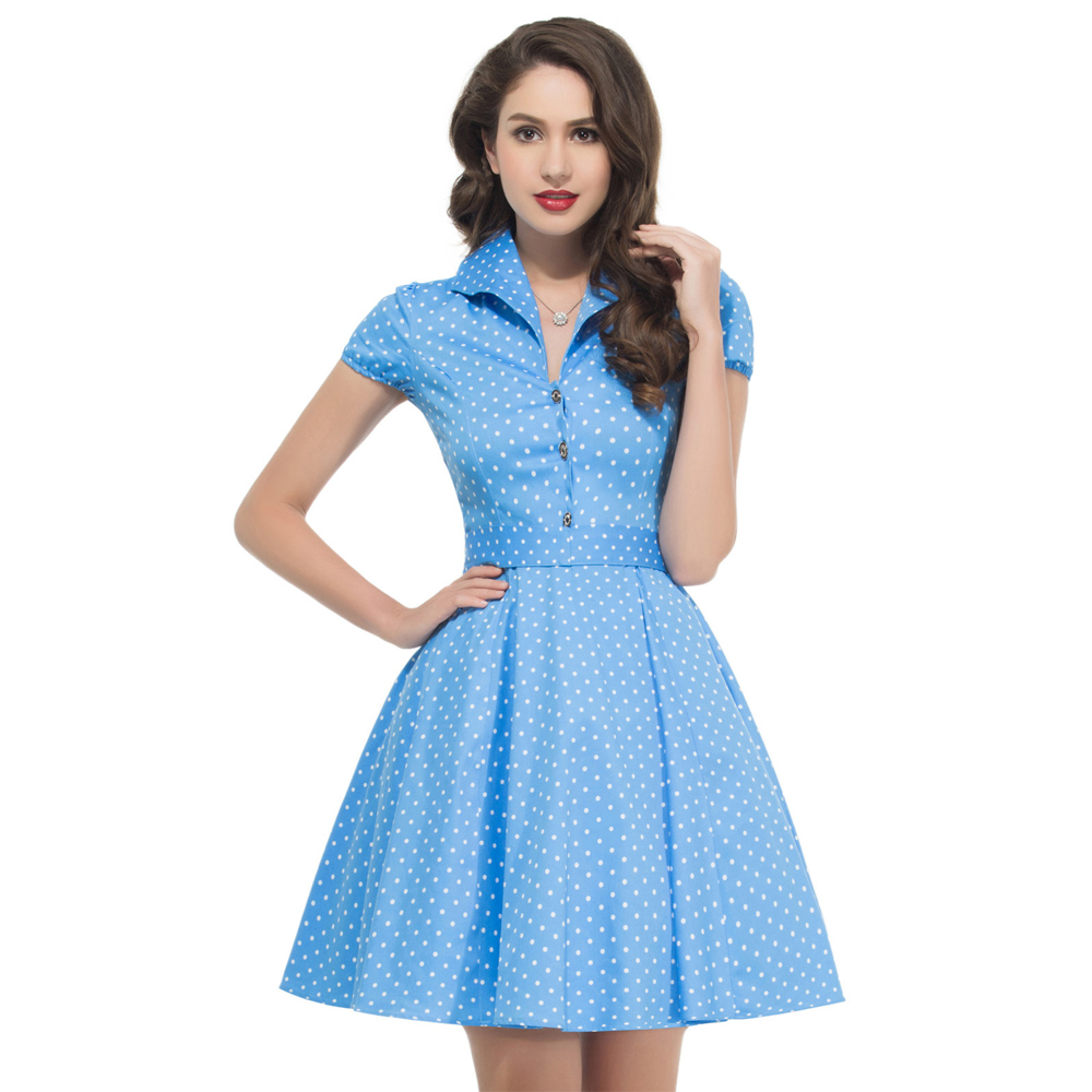 Popular Women Retro Dresses 60s 50s Rockabilly Knee Length Dress 2016 New