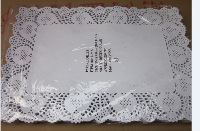 """250pcs/lot 10""""*14.5"""" Rectangle Paper Lace Doilies Placemat Craft Doyleys Wedding Tableware Decoration Party Supply Free Shipping(China (Mainland))"""