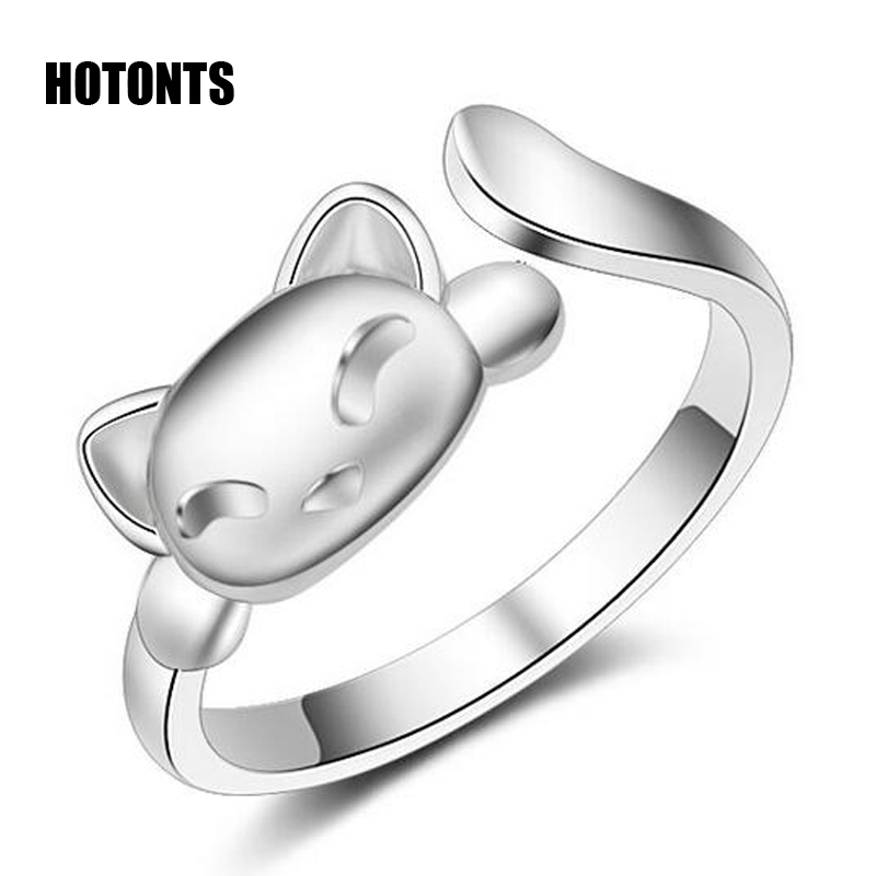 JZ054 Exquisite Silver Plated Cute Kitty Cat Ring For Women Fashion Adjustable Opening Ring Jewelry Female Girl Child Best Gifts(China (Mainland))