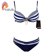 Andzhelika Bikini 2016 New Push Up Swimwear Retro Navy BLue Black White Striped Anchors Bathing Suit Bikini Set Monokinis AK1648(China (Mainland))