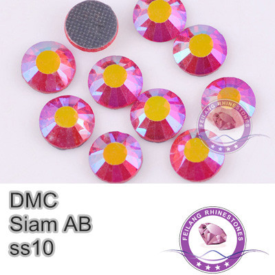 DMC Hotfix Crystals Rhinestone SS10 Siam AB 10 Gross Brides Stones Garment Accessories Wholesale Transfer Beads(China (Mainland))