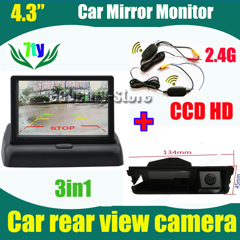 "4.3"" car monitor TFT LCD and 2.4G wireless car rearview parking reverse camera for Nissan March Renault logan Sandero CCD HD(China (Mainland))"