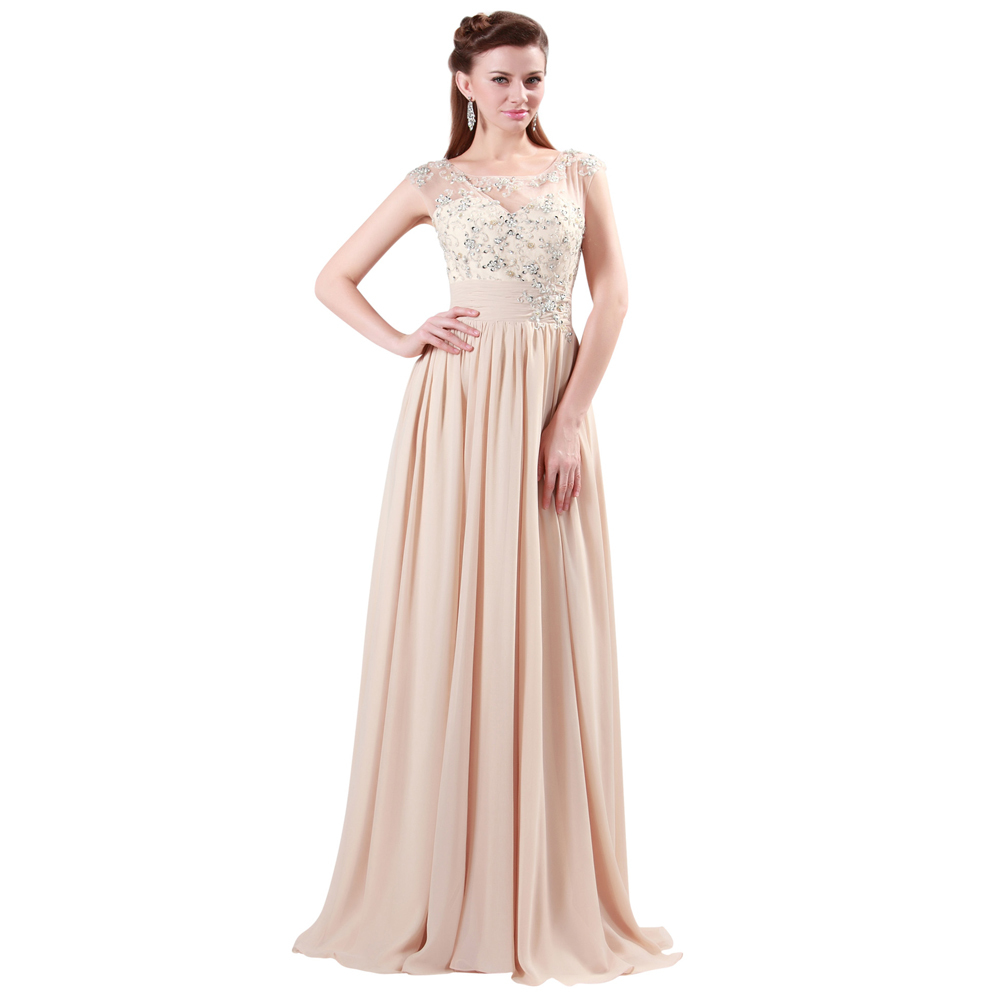 GK Fashion Designer Elegant Sequins Lace Full Length Chiffon Gown Evening Dress Prom Party Long