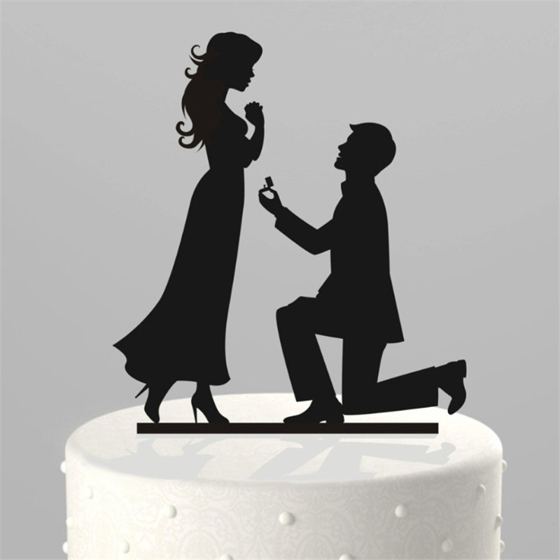 """Making a Proposal"" Romantic Acrylic Cake Topper Couple Pretty Supplies Romantic Bride and Groom Wedding Cake Accessories(China (Mainland))"