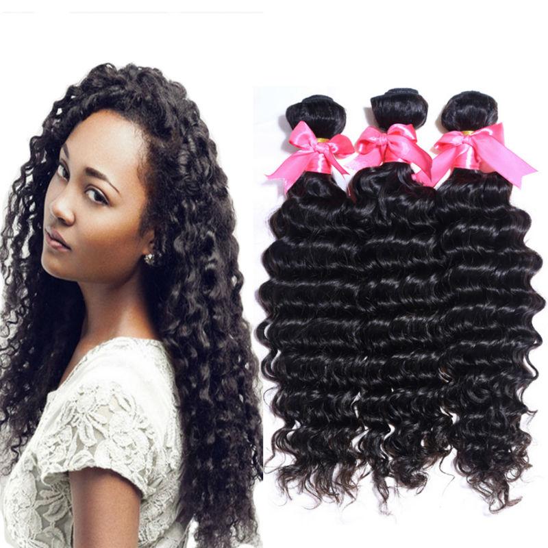malaysian deep curly virgin hair weft deep wave hair bundles 4pcs 100% human hair extension natural black hair weave full ends