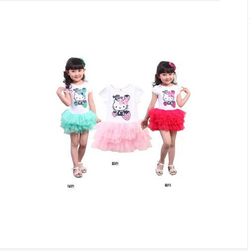 3 Different Colors Kids Clothes Baby Girls Dress Princess Dress Hello Kitty Cartoon KT Wings TuTu Dress Bow Veil Kids Love(China (Mainland))