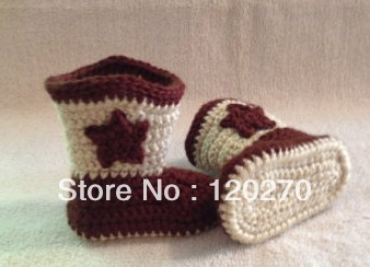 Free Shipping Handmade Crochet Cowboy Boots Baby Boys Girls Star Pattern Booties Infants Toddler Kids First Walkers Shoes Cotton(China (Mainland))