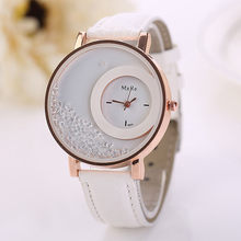Fashion Quicksand Rhinestone Watches Women Luxury Relogio Feminino Faux Leather Quartz Wrist Watch Girls Lady Bracelet Watch(China)