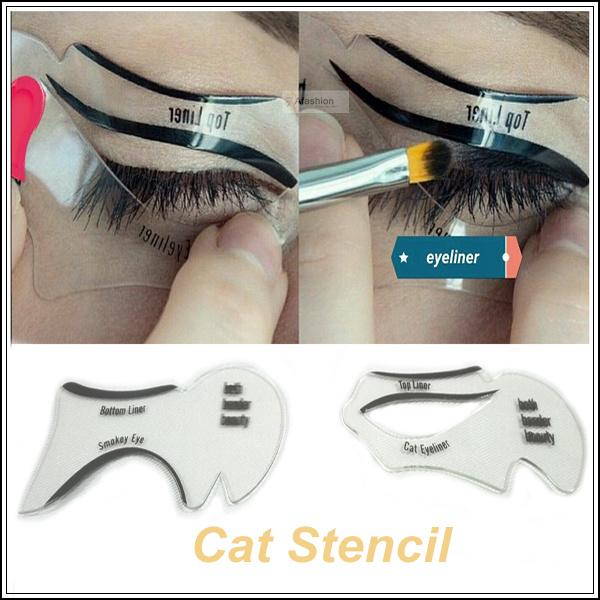 2pcs makeup New style cat eyeliner stencil kit model for eyebrows template top bottom liner eye
