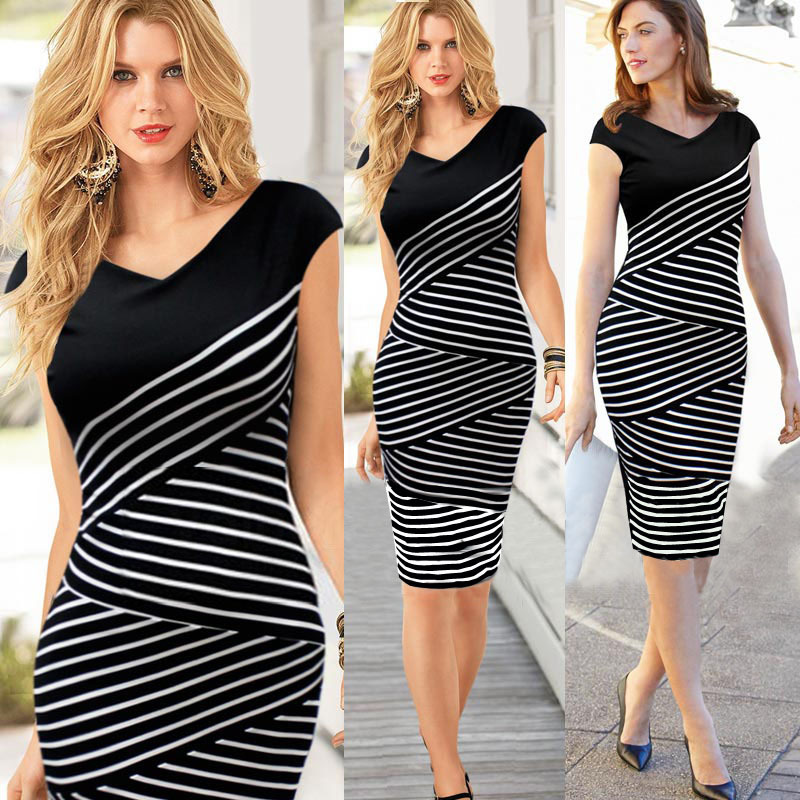 Plus Size XXL Dresses ,Hot Fashion V Neck stripe women pencil dress ,Sheath Sleeveless Knee-Length Women Dress Gift(China (Mainland))