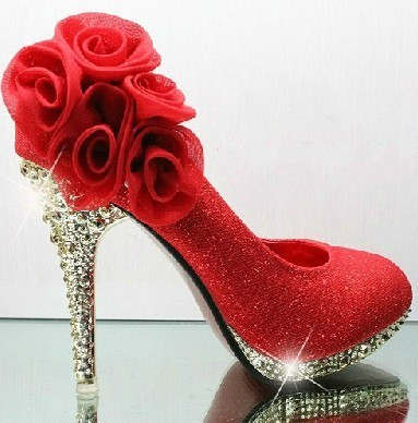 2013 Hot sale shining crystal wedding woman shoes 10cm