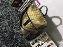 2015 NEW FASHION BRAND BACKPACK girls BAG GOLD Mesh grid striped suspenders SOFT Handle G BAG girls gift school bag(China (Mainland))
