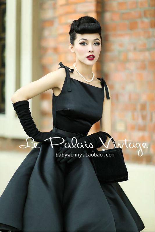Le Palais Vintage elegant retro classic Hepburn silk high waist puff dress/ ball gown(China (Mainland))