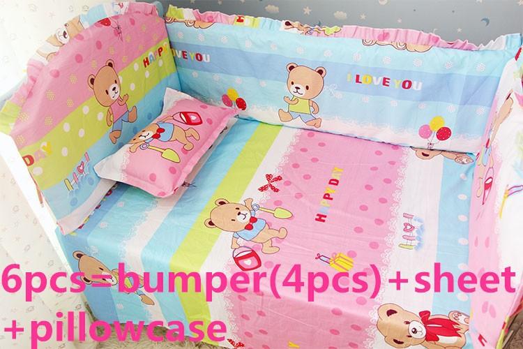 Promotion! 6PCS Hello Kitty 100%cotton reactive printing crib bedding set baby bedding set cotton  (bumper+sheet+pillow cover)<br><br>Aliexpress