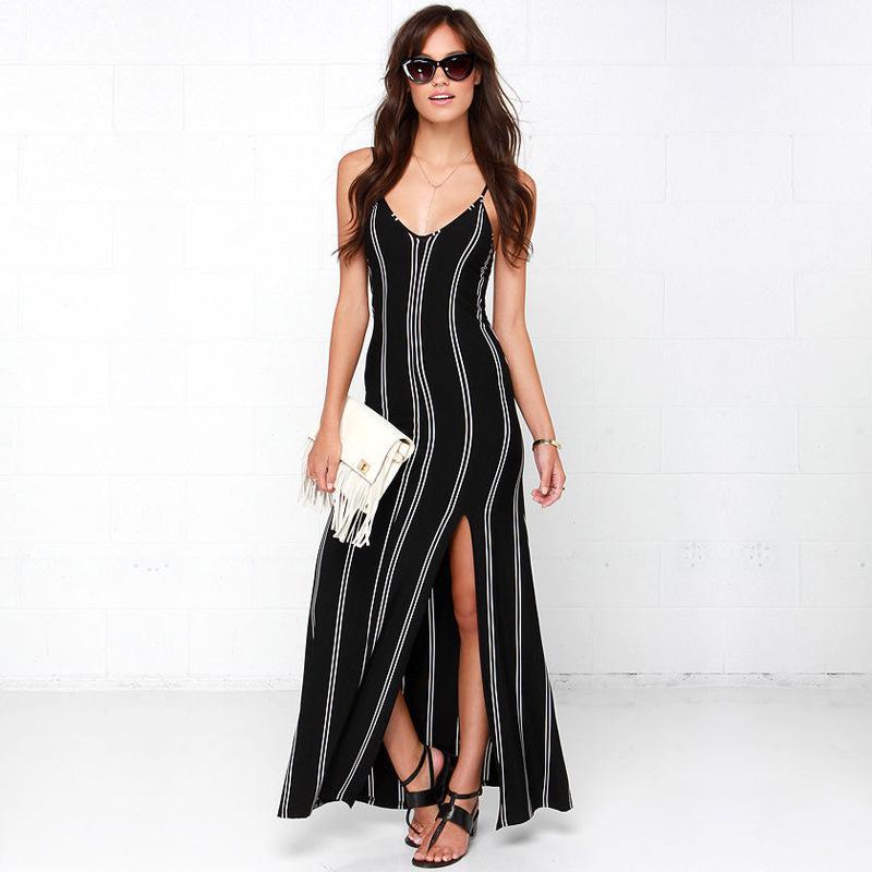 Milk Silk Cotton Black Dress 2016 Hot Sale Summer European Women V-neck Sleeveless Slit Backless Sexy Striped Long Beach Dresses(China (Mainland))