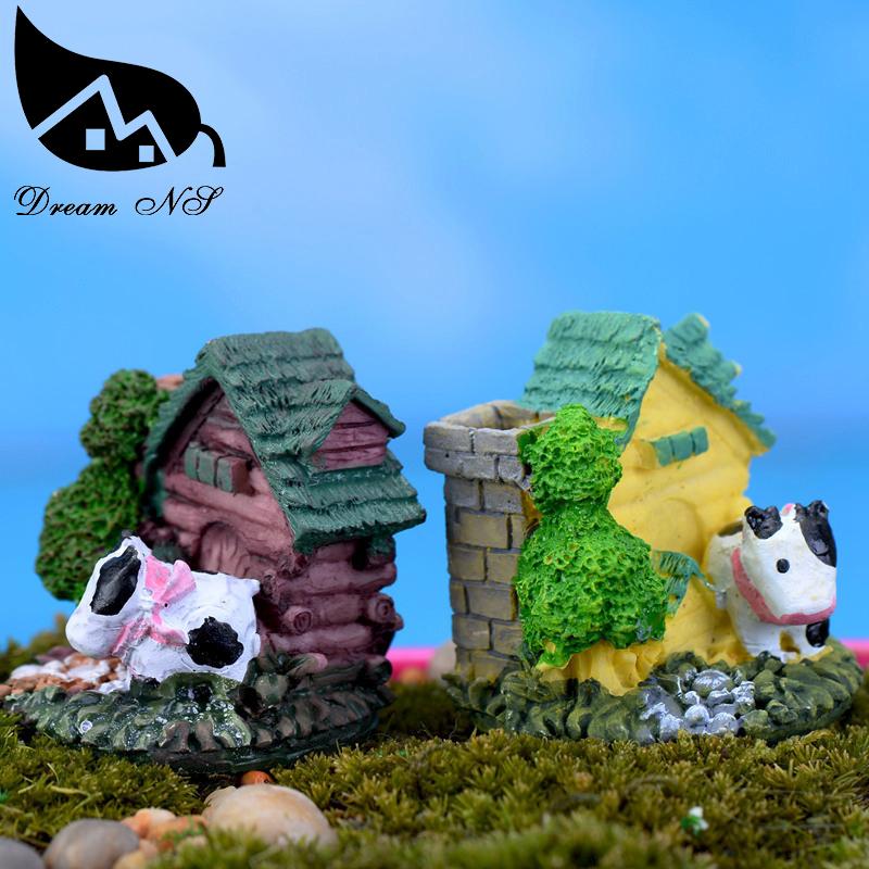 Handmade DIY Resin Crafts Stone House Mode Moss Miniature Landscape Decoration Mini Brick Villa Random Style Micro Cottage(China (Mainland))
