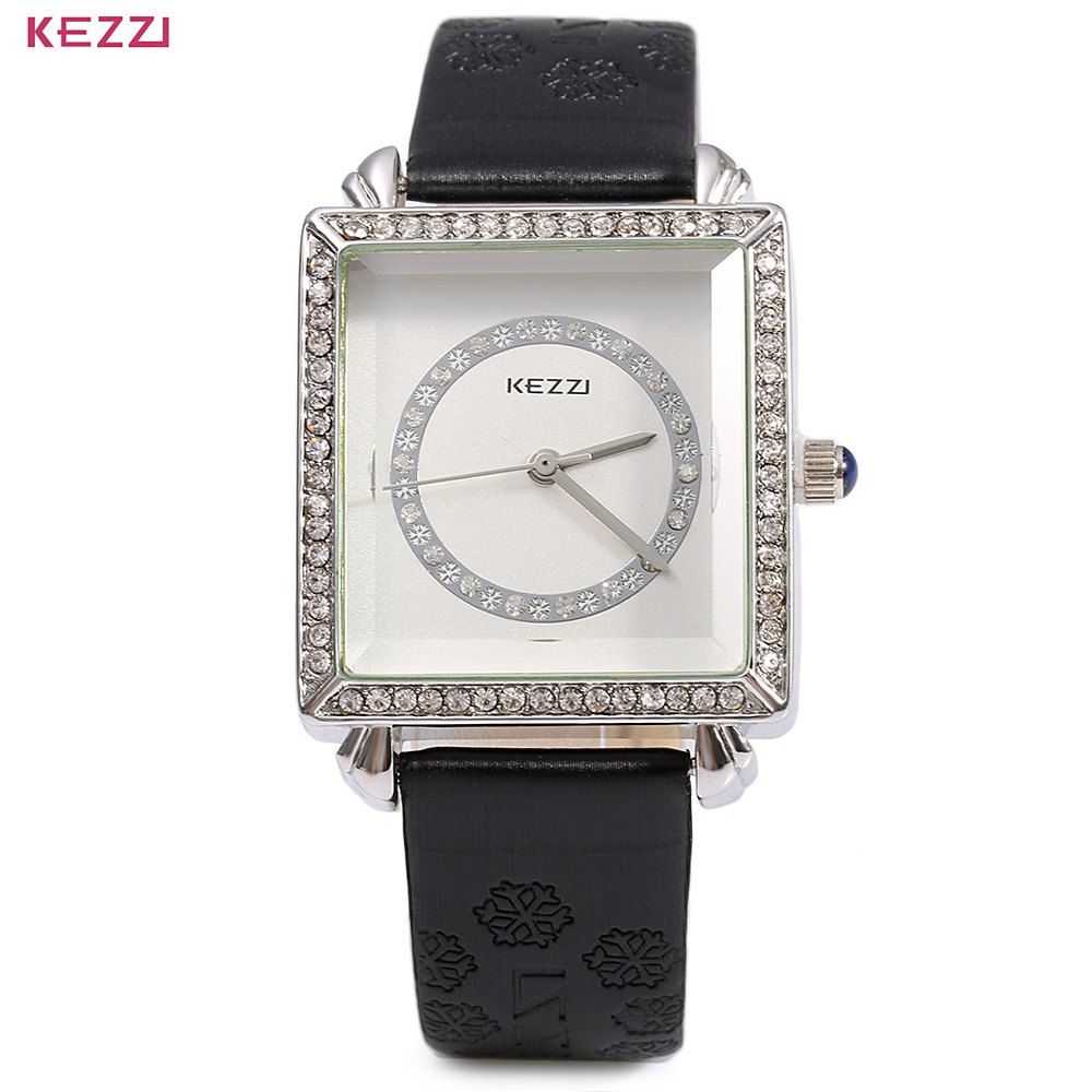 New Hot Sell KEZZI 767 Fashion Women Black Quartz Wristwatch Leather Band Luxury Diamond Round Rectangle Dial<br><br>Aliexpress