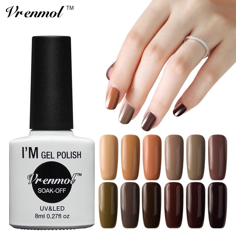 Vrenmol 1pc UV Nail Gel Long Lasting 12 Brown Series Gel Lacquer DIY Nail Art Colorful Nail Gel UV LED Lamp Curing(China (Mainland))