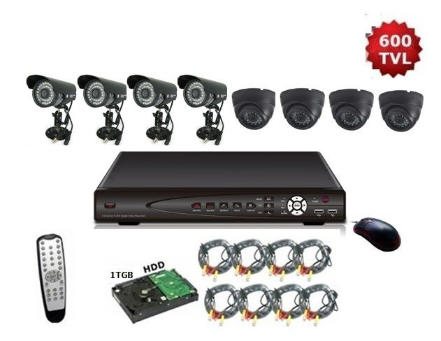 Freeshipping, 8CH H.264 Security CCTV 600TVL Night Vision IR Camera Standalone 1TGB Seagate HDD DVR System, 8CH BW7008KITC