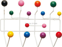 Free shipping, 1 piece colorful wooden balls clothes hanger, coat rack, Eames Hang It All