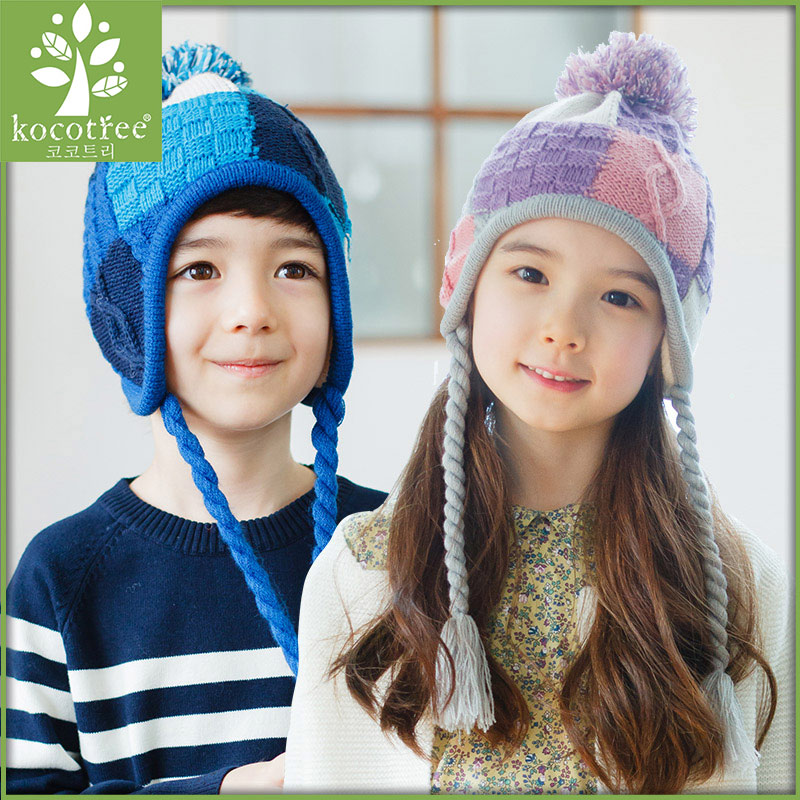 Kocotree unisex kids bomber hats cotton knitted winter windproof thicken super warm snow hats with earflap patchwork crafts(China (Mainland))