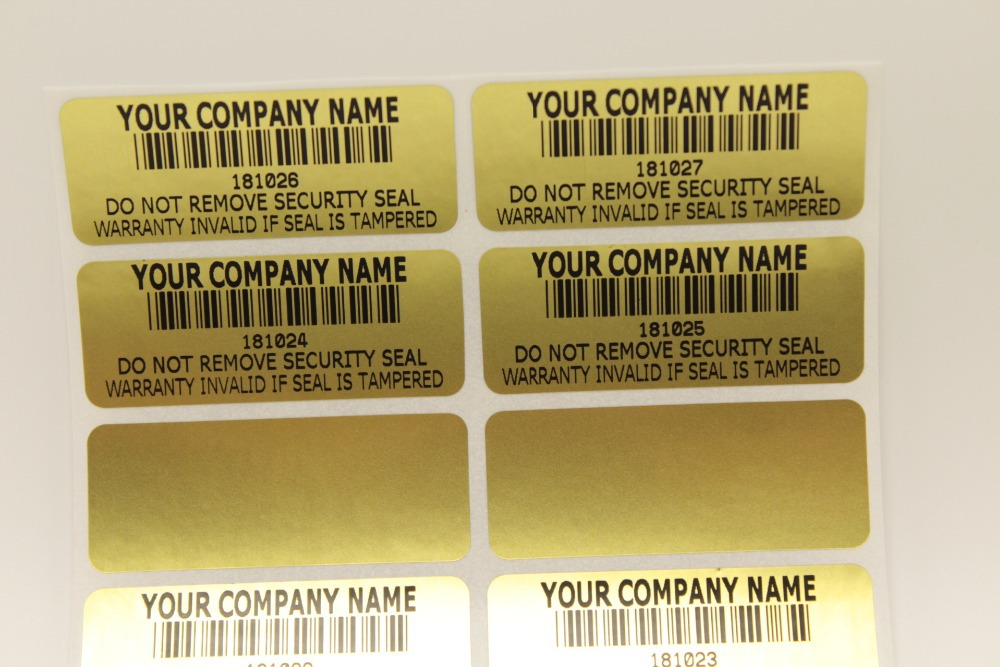 100pcs 46*18mm gold WARNING WARRANTY VOID SECURITY LABELS STICKERS-TAMPERPROOF-SERIAL NUMBERING(China (Mainland))