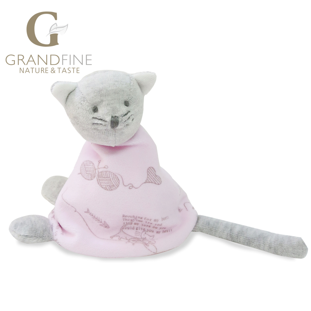 Made in china 15cm high quality 100% hand-made pink cat baby doll,cotton linen Eco material ,plush toys for birthday(China (Mainland))