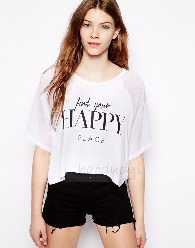 Women cotton t shirt happy place letters printed loose fit for T shirt printing place
