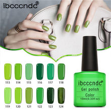 Ibcccndc מקצועי שיפוע ירוק סדרת צבעים אמייל ג 'ל חצי Permanentes UV נייל משרים Off לכה לכה 10 ml(China)