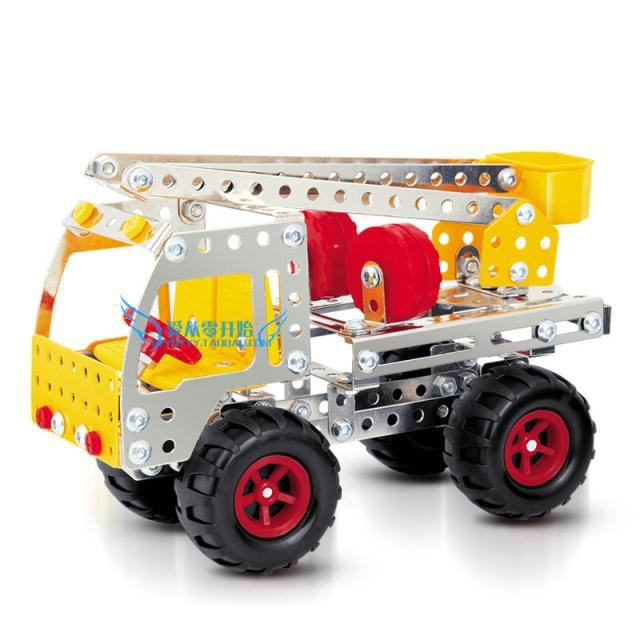 KINGTOY DIY metal alloy assemby building blocks toys fire ladder truck model diy toy(China (Mainland))