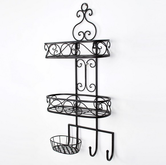 Free shipping 3 layer Iron bathroom craft decorative Wall Rack storage shelves with soap dish Iron Decoration with hook