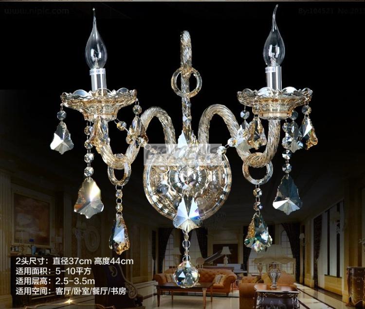 2014 2 Arms Cognac Wall Lamp Bedroom Crystal Sconce Sale K9 Drops (A WLZGS02-2), D370mmXH440mm - Gracens ZSN Lighting Co., Ltd store