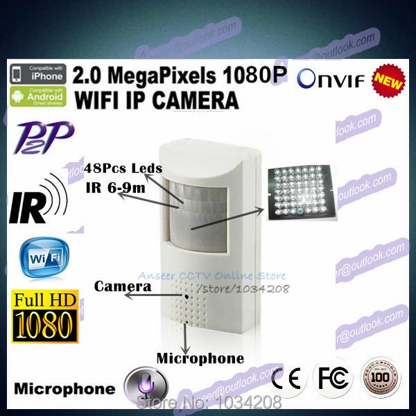 Security 2MP Full HD 1080P Wifi Wireless Pir IR IP Camera Covert Audio/Nightvision PIR IP Camera Motion Detector Hidden Pinhole()