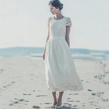 Buy 2016 New Custom Made Boho Chiffon Beach Wedding Dresses Laure De Sagazan Short Sleeve Line Charming Bridal Gowns for $98.82 in AliExpress store