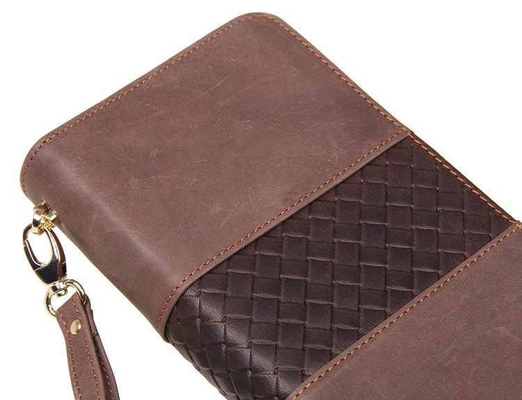 8070R JMD 10Pcs Lot Bulk Wholesale Excellent Genuine Leather Men Brown Wallet Checkbook Busniess Leather Clutch