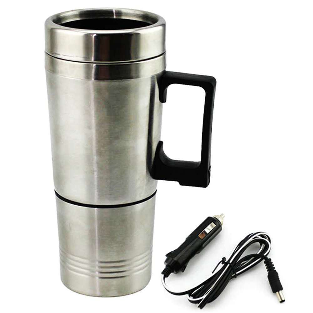 Universal 12V Car Heating Cup Electric Kettle Thermal Mug Stainless Steel Vacuum Boiling Water Bottle Travel Heated Cup Lid(China (Mainland))