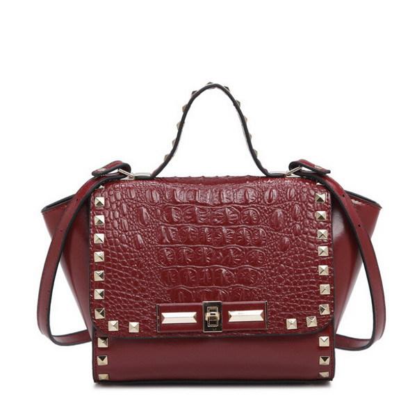 New Arrival Women Tote Bags Genuine Leather Brand Designer Ladies Leather Handbag Rivet Alligator Black/Green Shoulder Bag(China (Mainland))