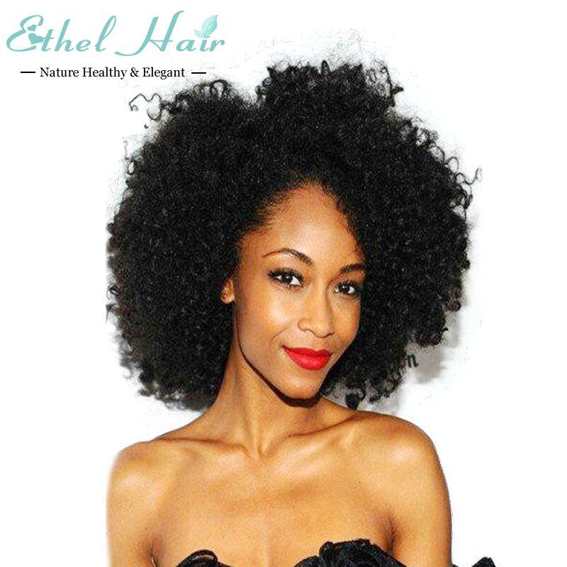 Kinky Curly Wigs Brazilian Virgin Hair Full Lace Human Wig Black Women Machine Made Afro Front Stock - Qingdao Ethel Store store