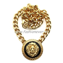 """New Celebrity Style Lion Face Pendant with 10mm 16"""" Link chain Necklace Gold Plating(China (Mainland))"""