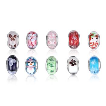 High Quality Silver DIY Murano Glass Beads Fit Pandora Bracelet Bangles Charms For Women Original European Jewelry