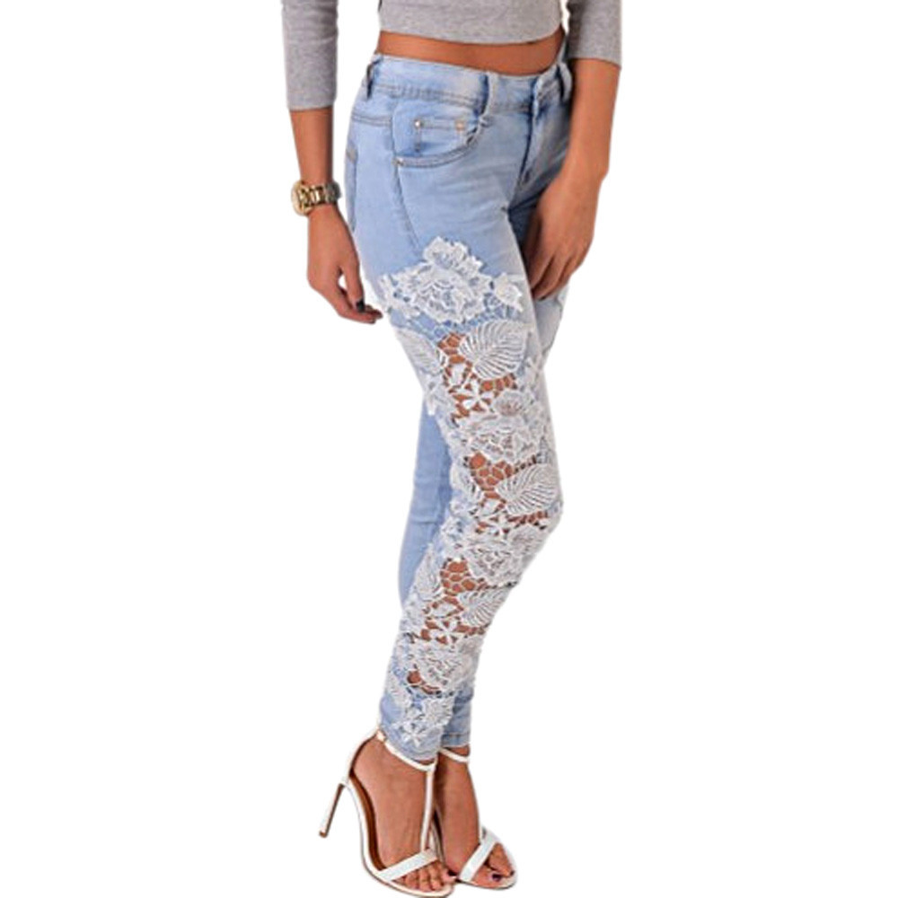2015 womens fall fashion lace spliced jeans hollow out ...