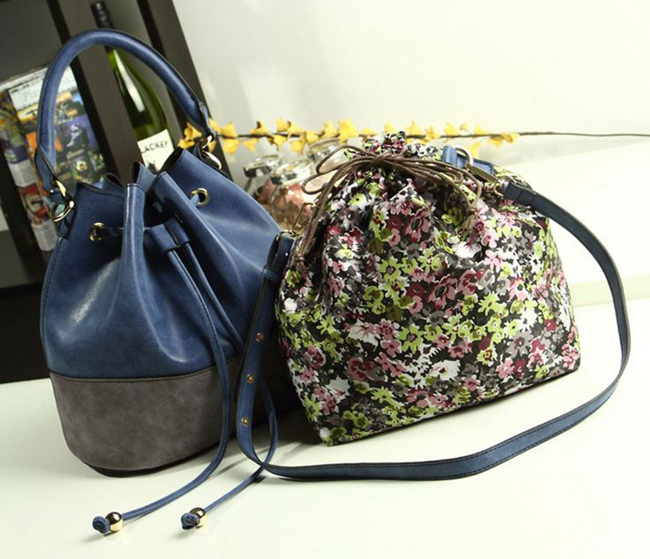 Buy 1 Get 1 FREE!2015 summer autumn 3 Hit Colors vogue luxury Bucket Women Bag of high-grade Frosted PU Leather tote handbags(China (Mainland))