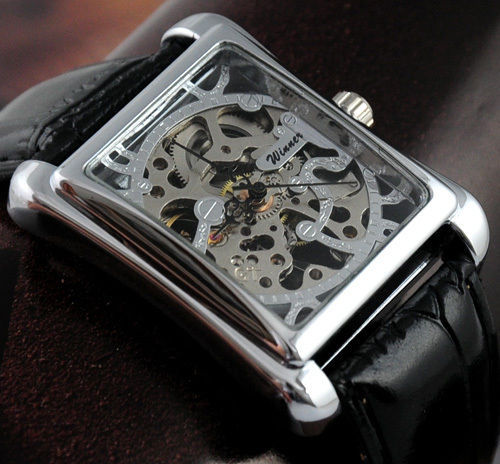 HK Post Or SG Post Brand Men Skeleton Analog Display Watch Casual Mens Manual Wind Mechanical Wrist Watch(China (Mainland))