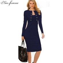 Nice-forever Winter Long Sleeve Buttons office Business Dress Elegant Plus Size Women Vintage Pinup Bodycon Pencil Dress b10(China (Mainland))