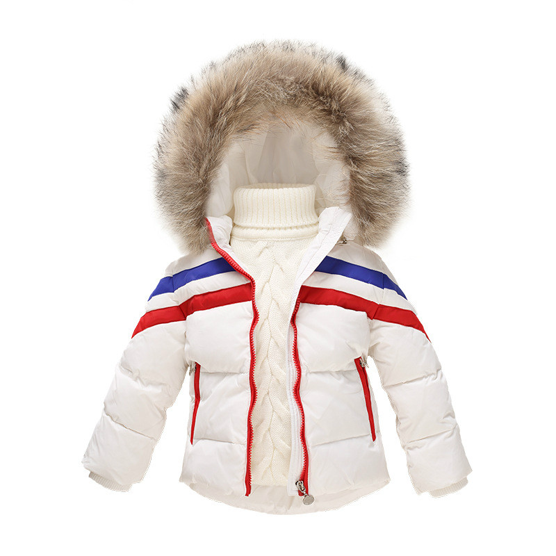 2016 New Girl Winter Jacket Boys Parka Coat Solid Baby Girl Snowsuit Thick Real Fur Hooded