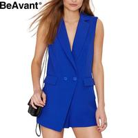 BeAvant 2016 new summer deep v neck white women jumpsuit overalls Sexy sleeveless black jumpsuits romper Casual pocket playsuits