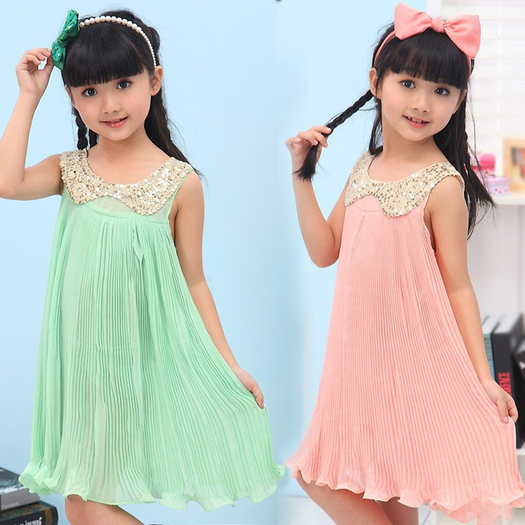 The 2014 Summer girl Chiffon Pleated Dress and sequins collar clothes for children(China (Mainland))