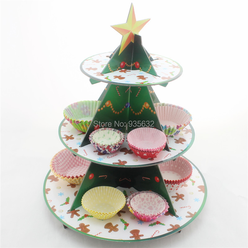 New arrival 1set/lot Paper Cake Holders paper cupcake stand christmas tree cake stand