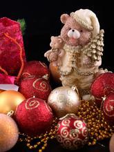 Christmas Backdroplittle Bear Ball Necklace Photography Background Christmas Sd-032(China (Mainland))